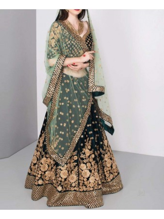 VF - Stunning green heavy bridal lehenga choli