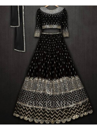 VF - Partyblack Georgette sequence embroidered lehenga choli