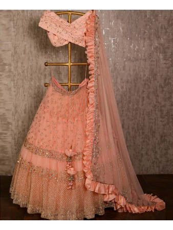 VF - Classy peach net sequence embroidered ruffle lehenga