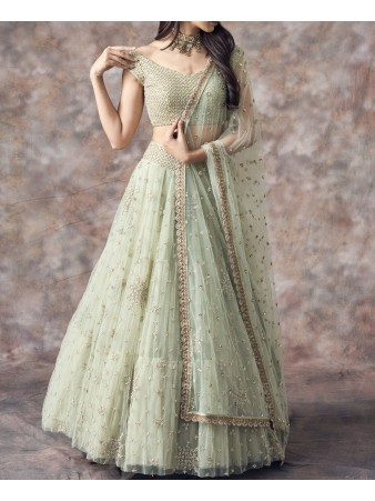 RE - Light pista Nylon Net Embroidered Lehenga Choli