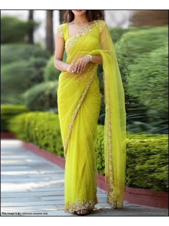 RE - Beautiful GreenBice Net Stone work saree