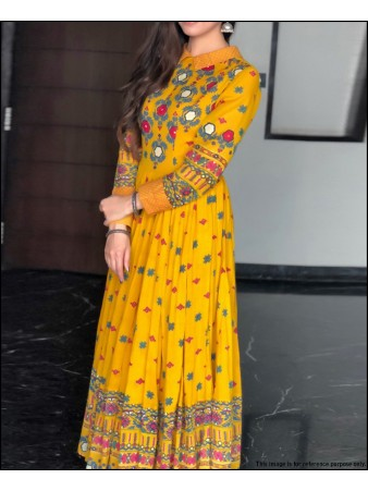 VF - Classy style yellow rayon cotton embroidered semi-stitched gown