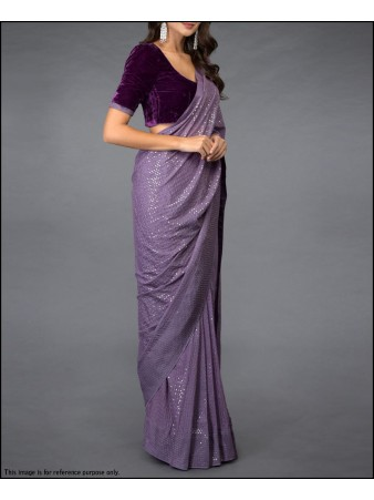 VF - Purple faux georgette sequence work saree