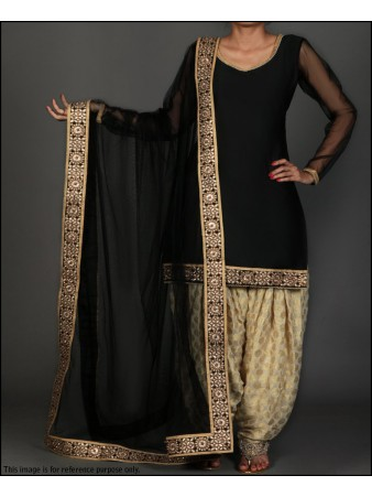 VF - Partywear black Faux georgette embroidery border suit