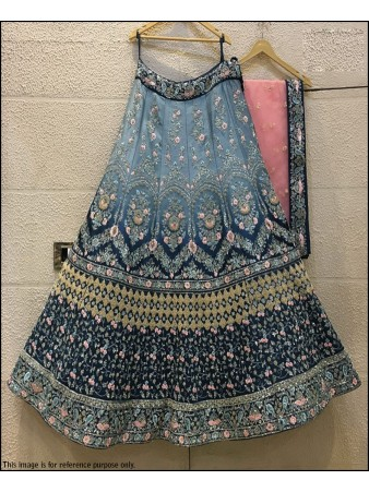 VF - Devsena Silk Pedding BlueGrey embellished lehenga choli