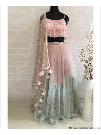 VF - Twisted Threads net light peach lehenga with stylish heavy dupatta