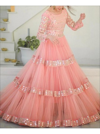 RE - Semi-stitched foil Mirror work Net Gown