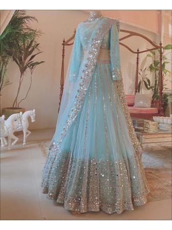 RE - Sky Blue Colored Butterfly Net Mirror Work Lehenga Choli