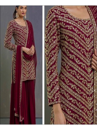 RE - Maroon Colored Faux Georgette Semi-Stiched Salwar Suit