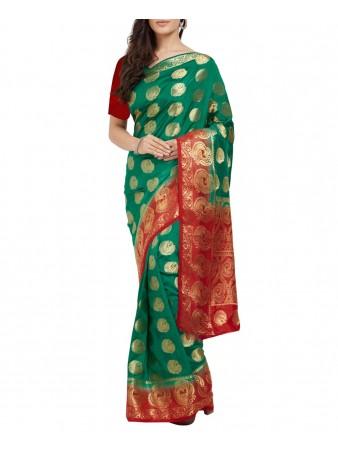 PC- Desirably Turquoise Nylon silk printed saree