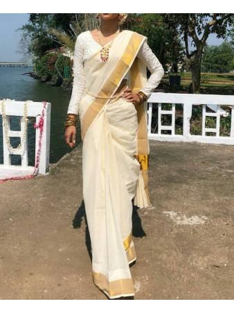 JGT - Diva White Chanderi cotton light embroidered saree